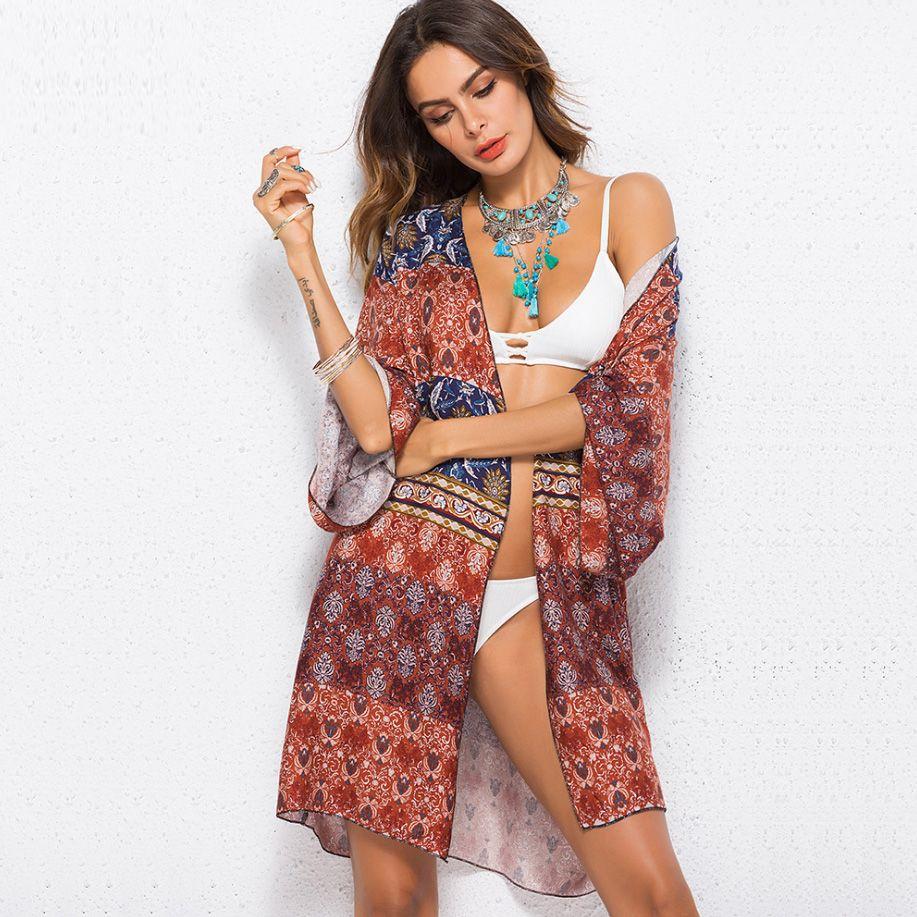 c9652338a1c 2019 Bohemian Blouses 2018 Summer Beach Kimono Print Casual Fashion Boho  Plus Size Clothes Ladies Shirts Women Tops From Fashion store1