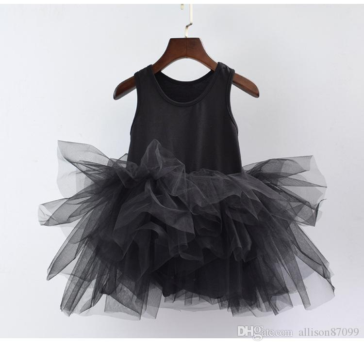 Boutique Fille Justaucorps Danse Ballet Tutu Jupe Body Enfants Filles Performance Bubble 100% coton Eté 2-9ans Blanc Noir Gris 6 couleurs