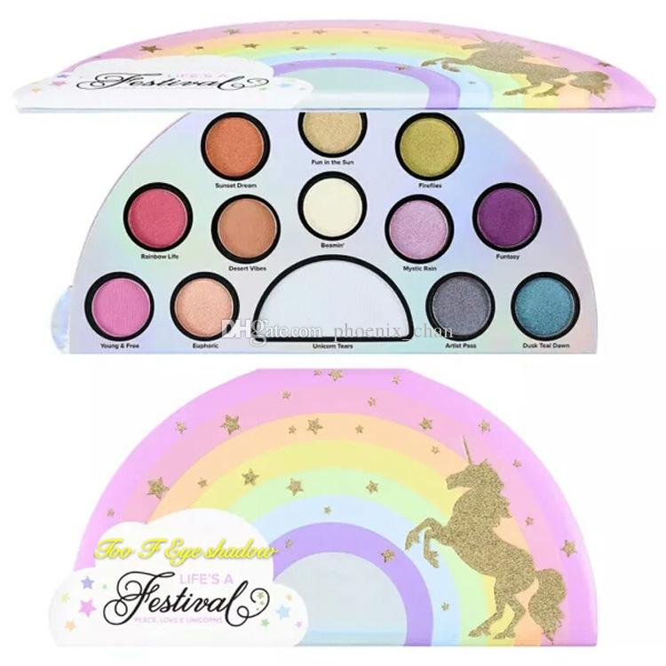 Newest Too F LIFES A Festival eye shadow palette eyeshadow Too F CED 12colors Peaches Eye shadow Makeup Cosmetics Free shipping