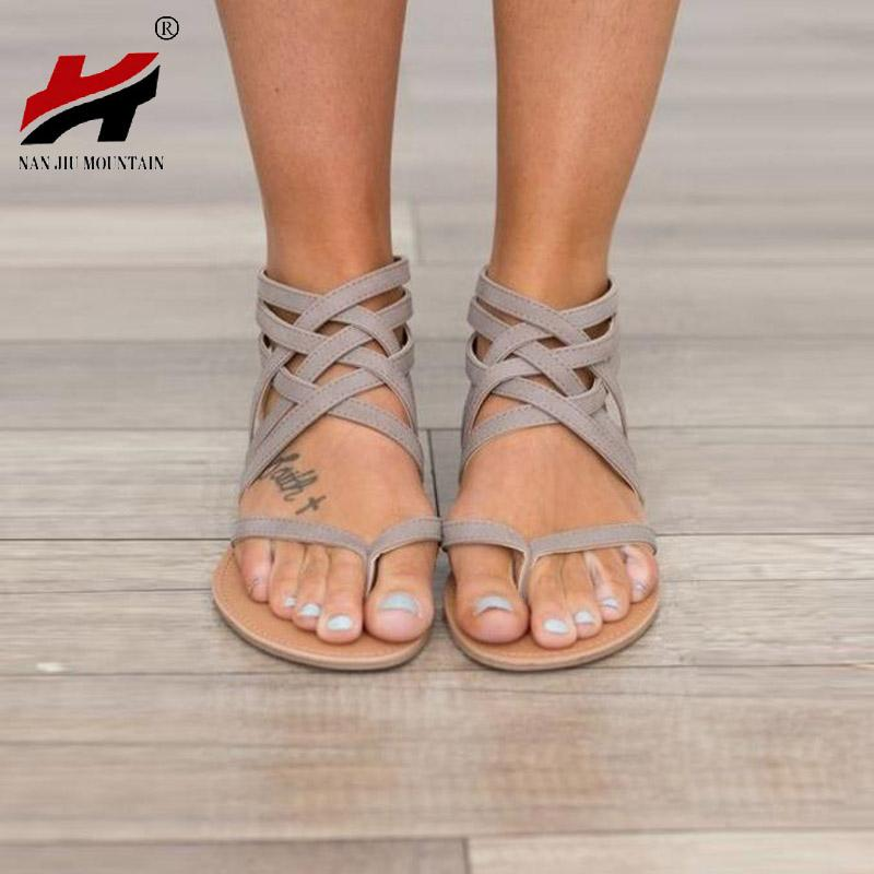 1ee78ad1518c7 Plus Size 34 43 Flats Summer Women S Sandals 2017 New Fashion Casual Shoes  For Woman European Rome Style Sandalias UK 2019 From China smoke