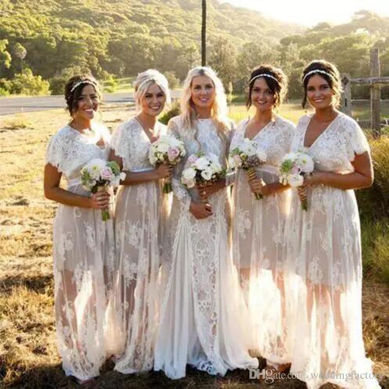New Summer Bohemian Romantic Sheer Lace Bridesmaid Dresses V Neck Short Sleeves Plus Size Boho Wedding Dresses Custom Made