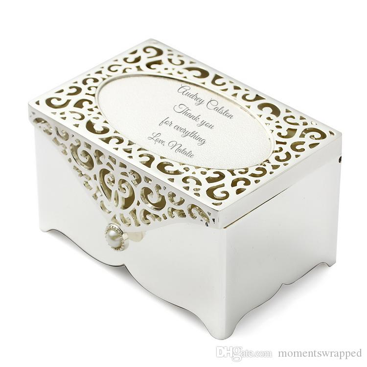 Filigree Keepsake Box Personalized Jewelry Box Engraved Silver Plated Mother Of Pearl Trinket Box