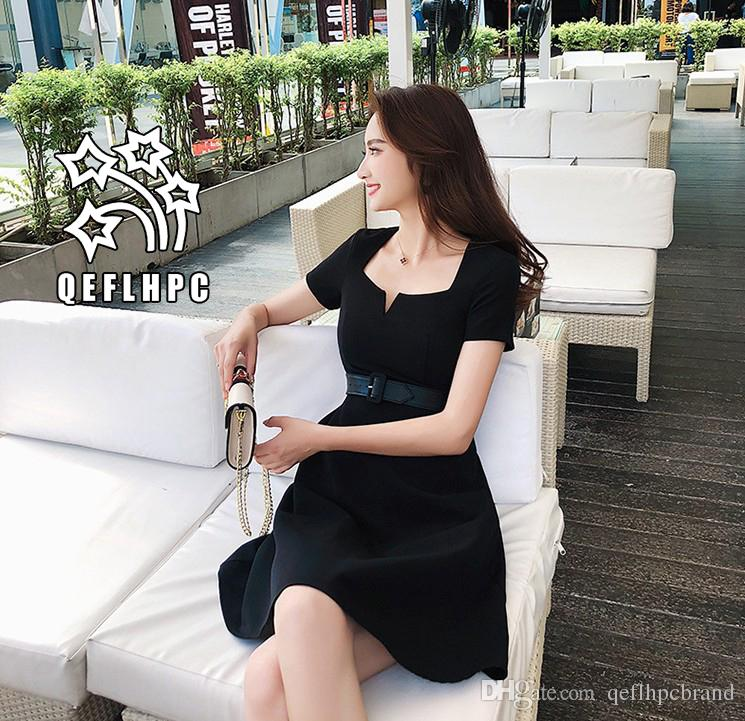 97d0452170e Women's clothes Dress Summer Sexy beach chiffon dress Thin Polyester  material Casual Dresses chambray Longuette Striped black Square Neck A1
