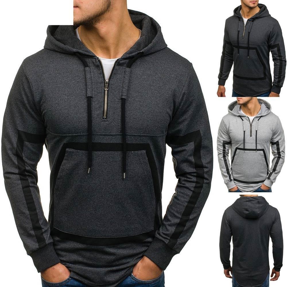 ab76b4ce7 Compre 2018 Moda Mens Roupas Masculinas Splicing Zipper Pullover ...