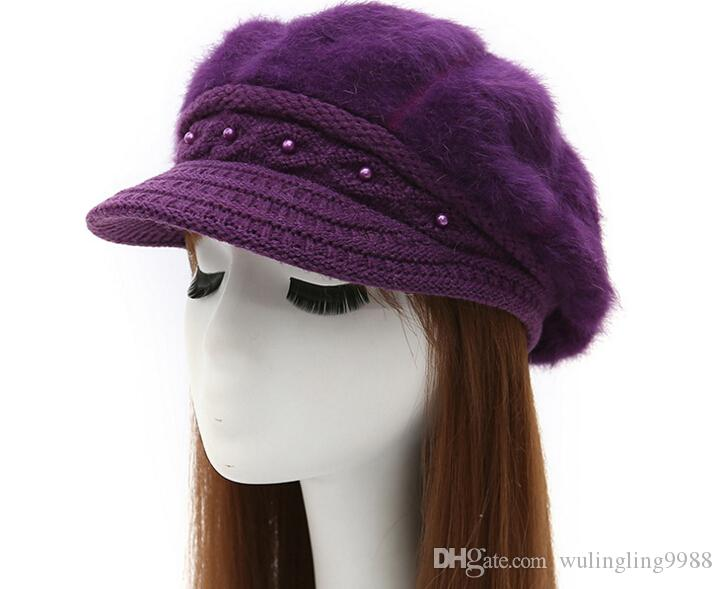 cashmere knitted hat Korean type winter women's Beret peaked cap lady rabbit hair hat