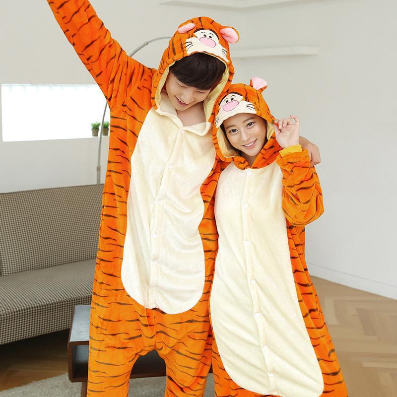 ec4ac25992d9 2019 Winter One Piece Unisex Kigurumi Orange Tiger Pajamas For Women Couple  Anime Cartoon Hoodie Pijama Sleepwear Halloween Pyjama From Pagoda