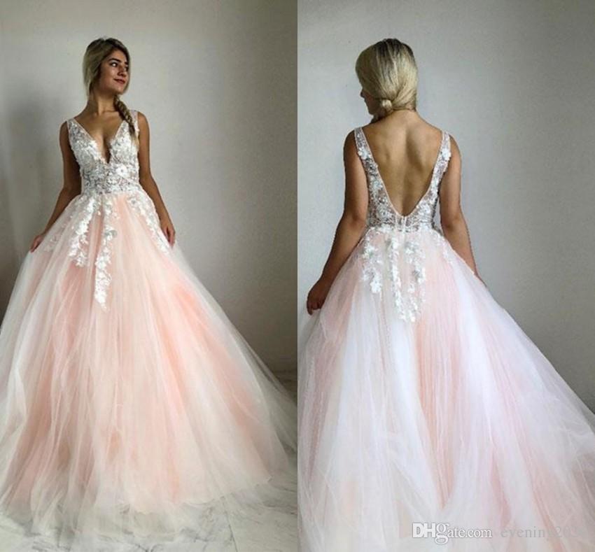 Vintage Brautkleider Dubai Abaya Arabisch Long Sleeves Braut Brautkleider Spitze Top Applikationen Perlen Rosa Tull Brautkleider