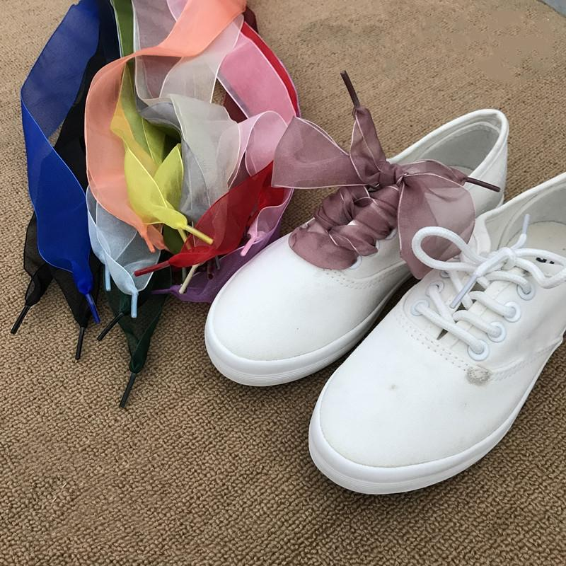 88418cd6fc9f 2019 Women Shoelaces Fashion Flat Silk Satin Ribbon Shoe Laces For Sneakers  Sport Shoes 110CM From Xiamenshoes