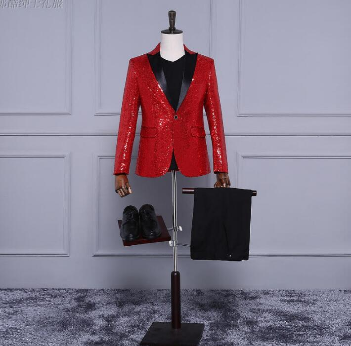 deca72a5 2019 Red Blue Gold Men Blazer Designs Masculino Homme Terno Stage Costumes  For Singers Men Sequin Blazer Dance Clothes Jacket Dress From Missher, ...