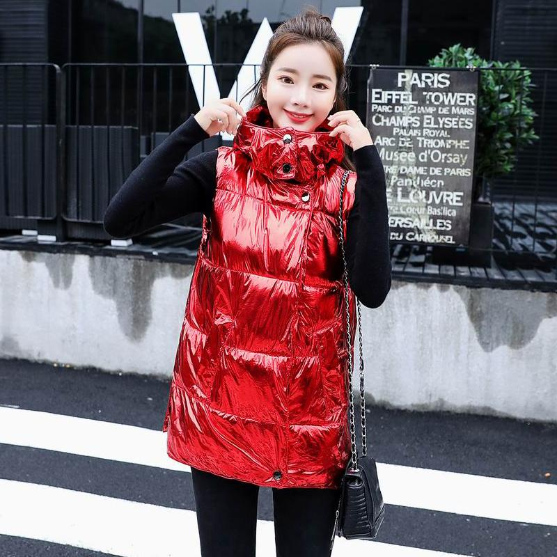 1bb9ad70e 2019 Autumn Women Down Cotton Padded Metal Red Silver Black Vest ...