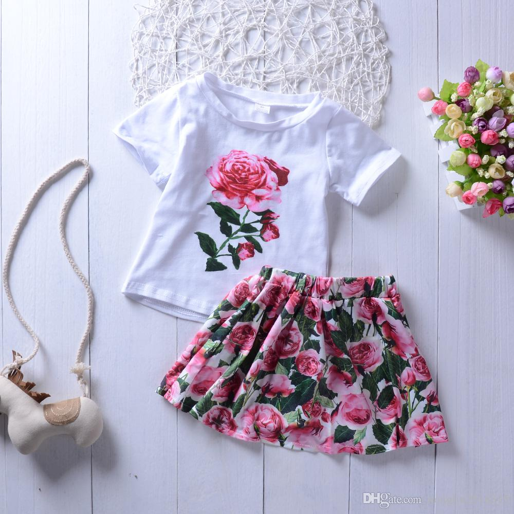 9de05bf24fb 2019 Cute Rose Floral Toddler Kids Baby Girls Outfits Cute Short SleeveT  Shirt Tops+Short Dress Skirts Clothes Set Summer KA786 From Hongliu2018315