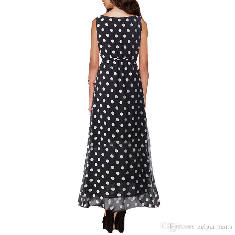 Women Long Dress hot sale 2018 Summer Black Dot Style Print Dresses Sleeveless Chiffon Dress Ankle-Length Elegant vestidos