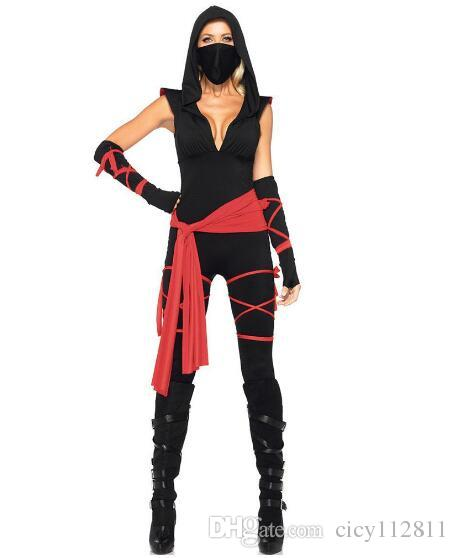 Wholesale Europe And The United States Halloween Ghost Festival Horror Deep  V Jumpsuit Party Ninja Performance Cosplay Costume Clever Group Halloween  ... 16ea190d1a63