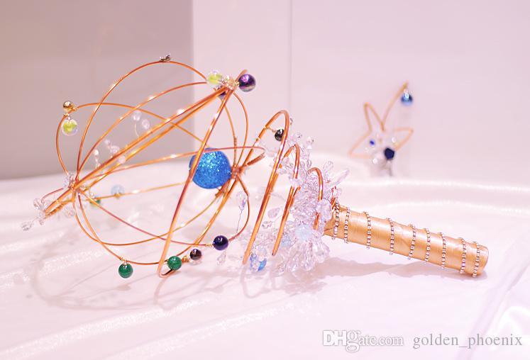 Özel Kozmik Yıldız Tema Düğün Buketi Altın Mavi Gelin Buketi