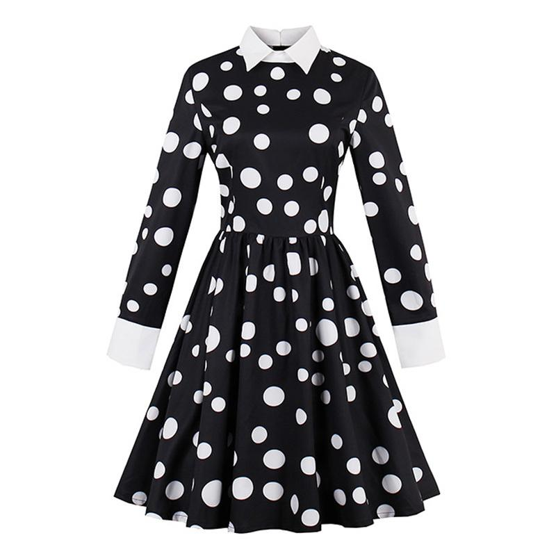 9f7dd8789ecdb 2019 AutumnTurn Down Collar Female Party Dress Black Vintage Polka Dots  Dresses 1950s 60s New Full Sleeve Retro Dresses Floral Dress White Prom  Dresses From ...