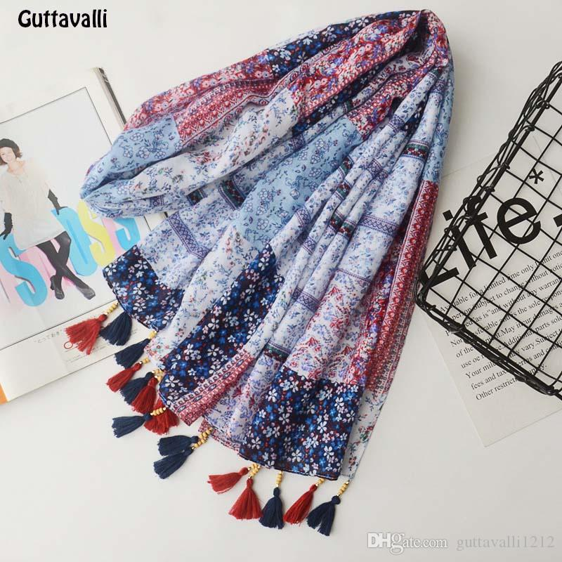 Guttavalli Women Small Flowers Tassels Long Shawl Spring Female Cotton Beads Scarf Bohemia Plant Skinny Chevron Skinny Scarves