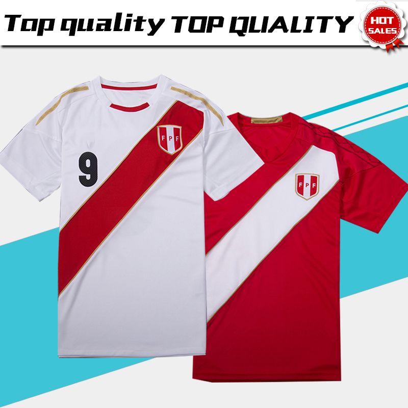 2018 World Cup Peru Home White Soccer Jersey Peru  9 GUERRERO  10 ... e586e5b6d