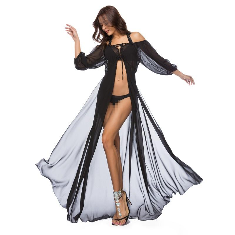 c6829437fba28 Zmvkgsoa New See Through Beach Long Maxi Dress Bathing Shirt Sexy Ladies  Womens Boho Style Mesh Dresses For Women Clothing Y2297