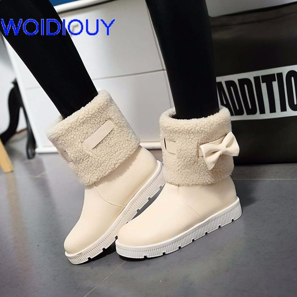 8c5c4f8a5888 Snow Boots Leather Winter Flat Waterproof Boots Women Shoes Female Botas  Mujer Botas Femininas De Inverno Black White Plus Size Leather Boots For  Women ...