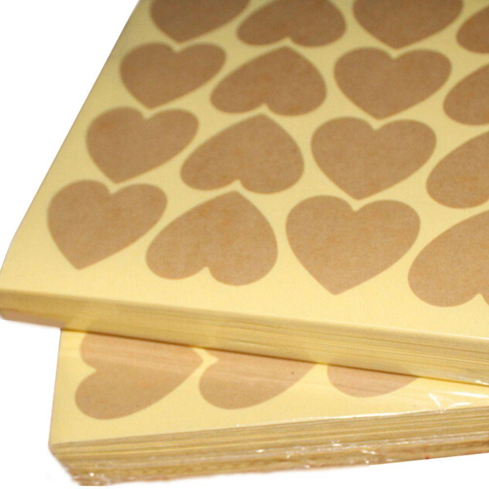 120 unids = 10 hojas en blanco Kraft etiqueta del corazón para productos hechos a mano bricolaje punto de regalo pegatinas para regalos del favor del partido bolsa caja de dulces decoración