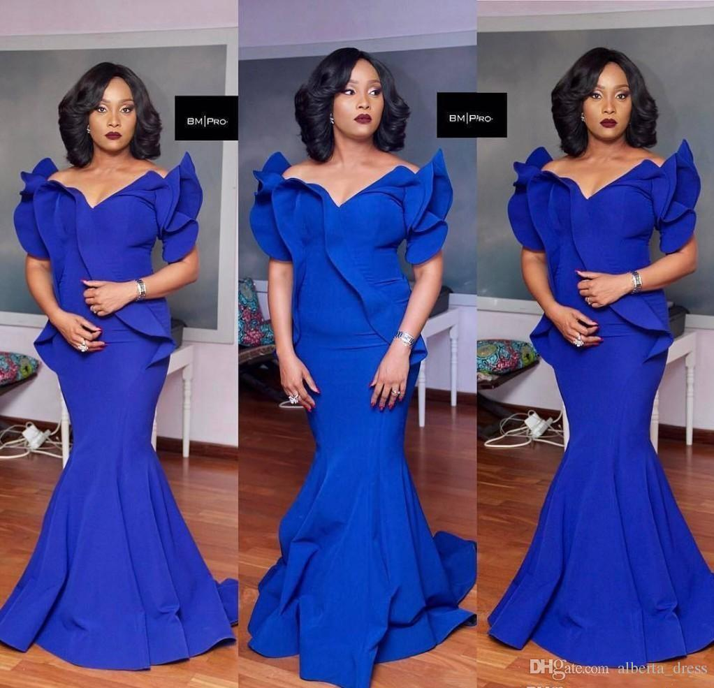 2020 Siyah Kızlar Kraliyet Mavi Mermaid Gelinlik Artı Boyutu Güney Afrika Saten Ucuz Abiye giyim Örgün Parti Elbise