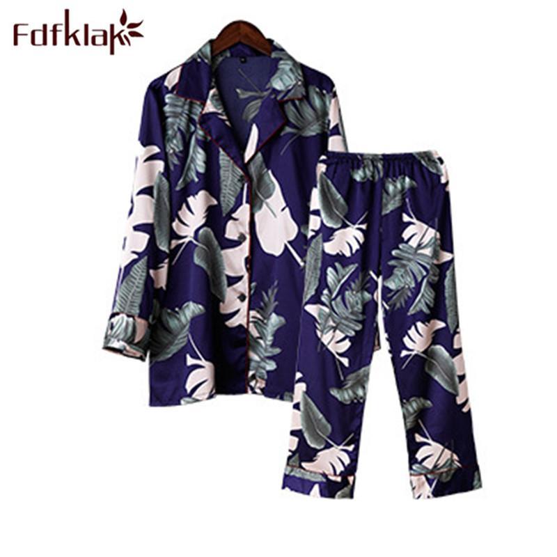 Fdfklak Spring Autumn Pyjamas Women Night Suits Two Piece Sleepwear ... db4bd2f40