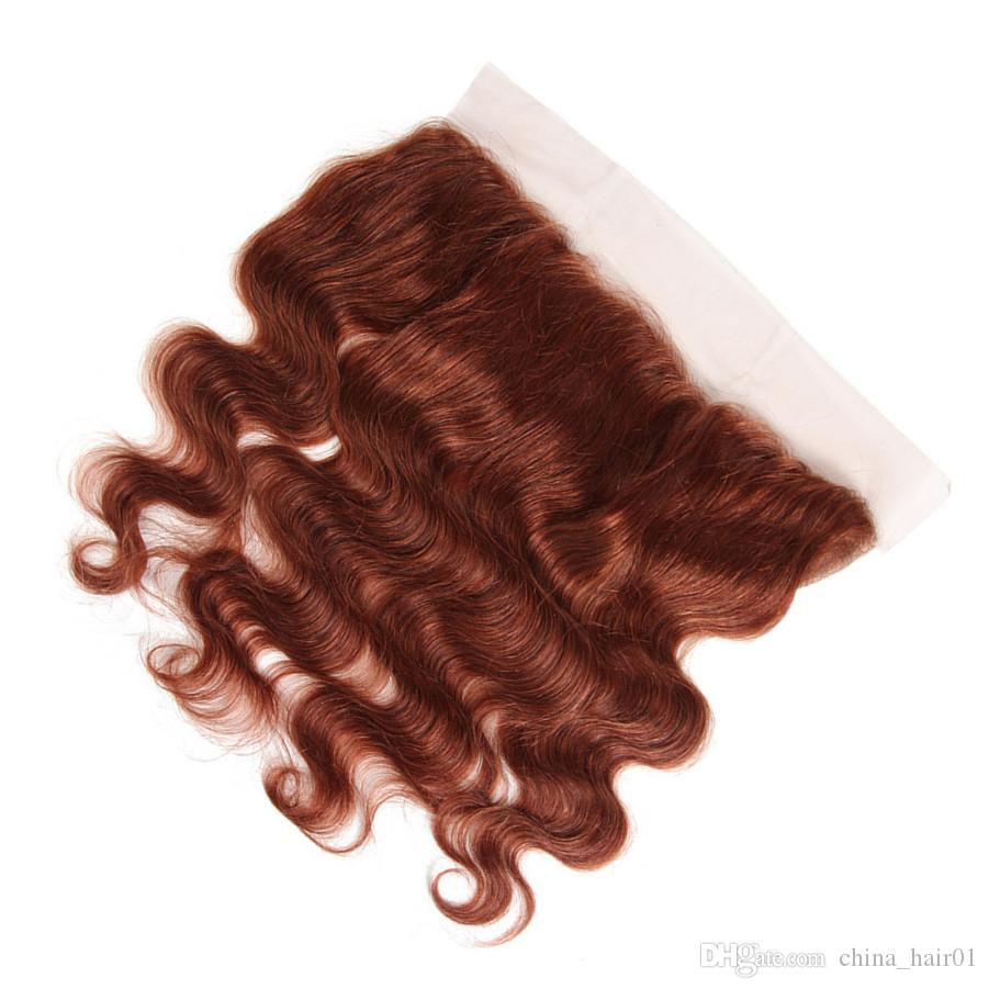Copper Red Indian Virgin Hair Bundles Body Wave Wavy with Top Closure #33 Dark Auburn Human Hair Weaves Extensions with Lace Closure 4x4