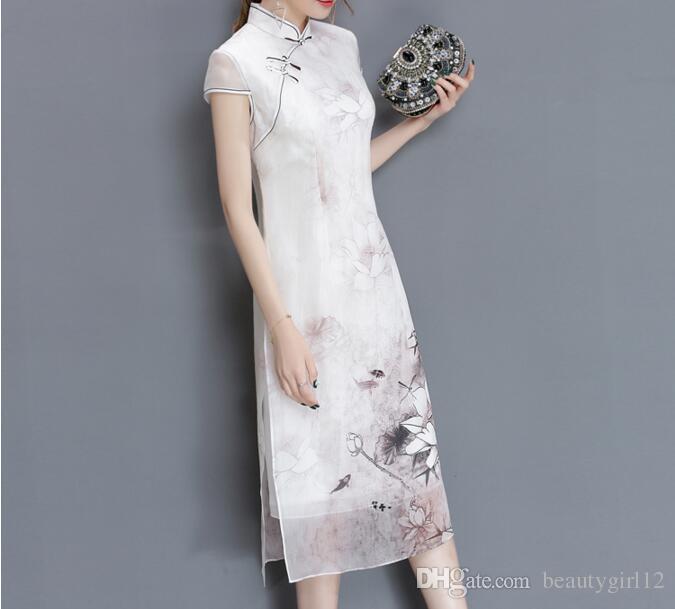 2018 new long cheongsam dress modern qipao dress sexy chinese dresses chinese traditional dress vestido oriental qipao