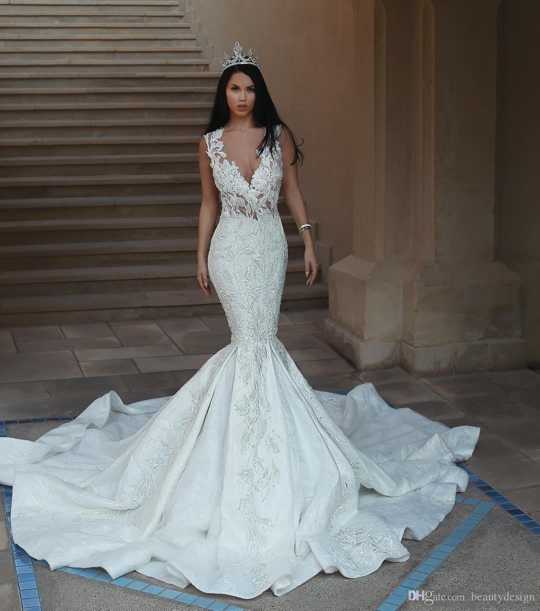 Acheter 2018 Magnifique Robes De Mariée Sirène Sans Manches Perles Dentelle  Appliques Robe De Mariée Dos Nu Glamour Dubai Dentelle Balayer Train Robes