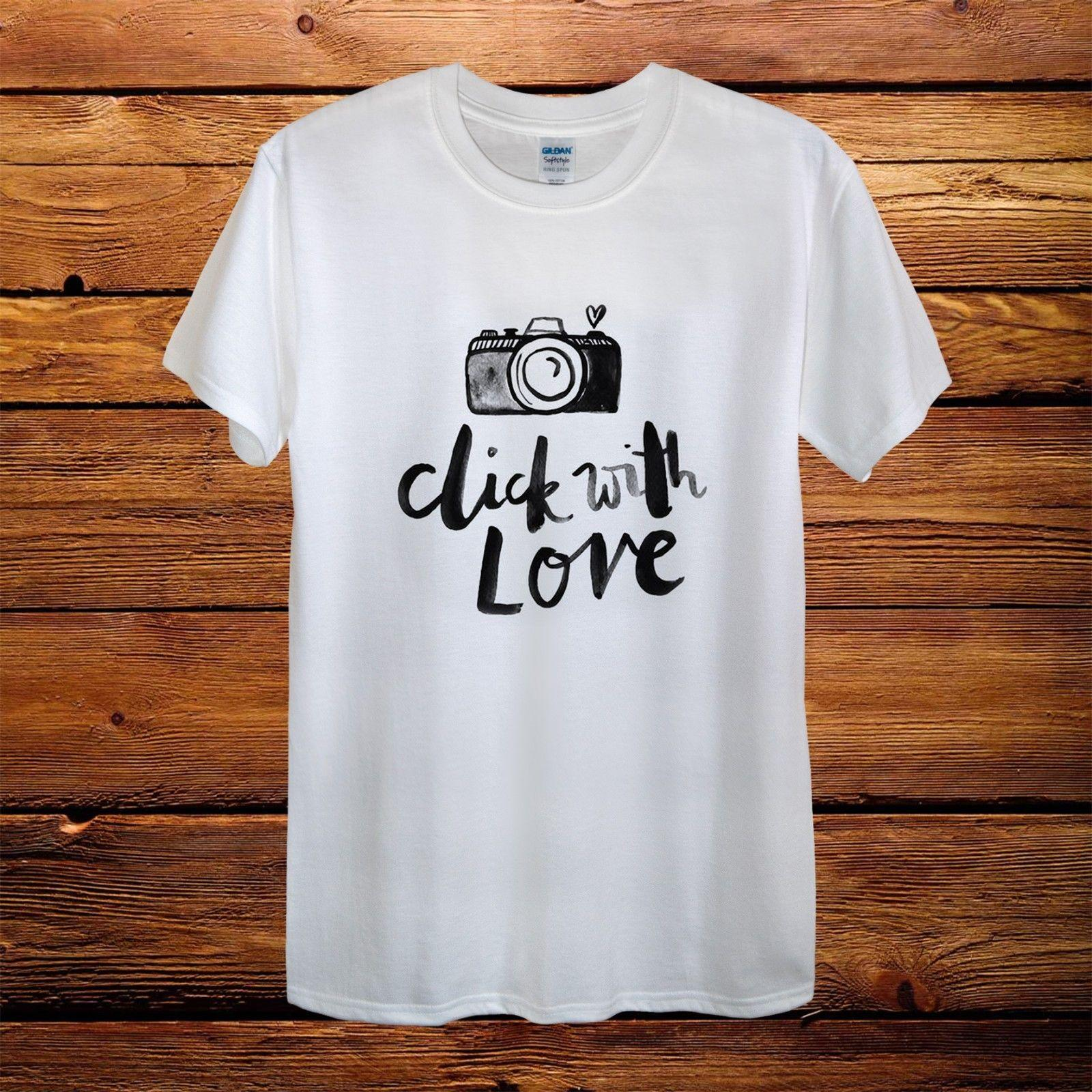 Photography Camera Click With Love Gift Design T-Shirt Men Funny free shipping Unisex Casual gift