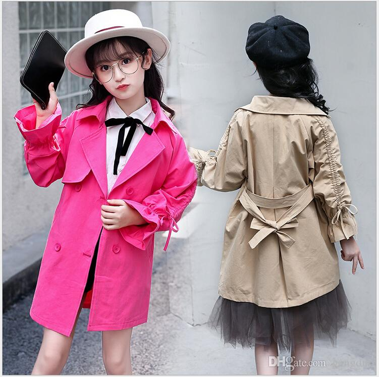 67a13af9cea4 Spring Autumn Girls Cotton Trench Coats Fashion Kids Windbreaker ...