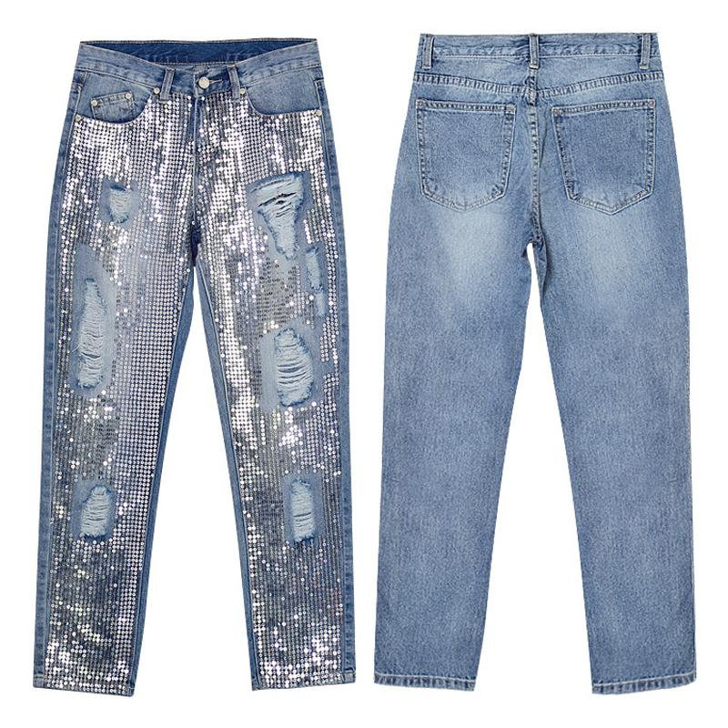 New Fashion Vintage Loose Ripped Sequins Jeans Women Hollow Out Sequined Embroidered Metal Sheets Straight Nine points PantsB