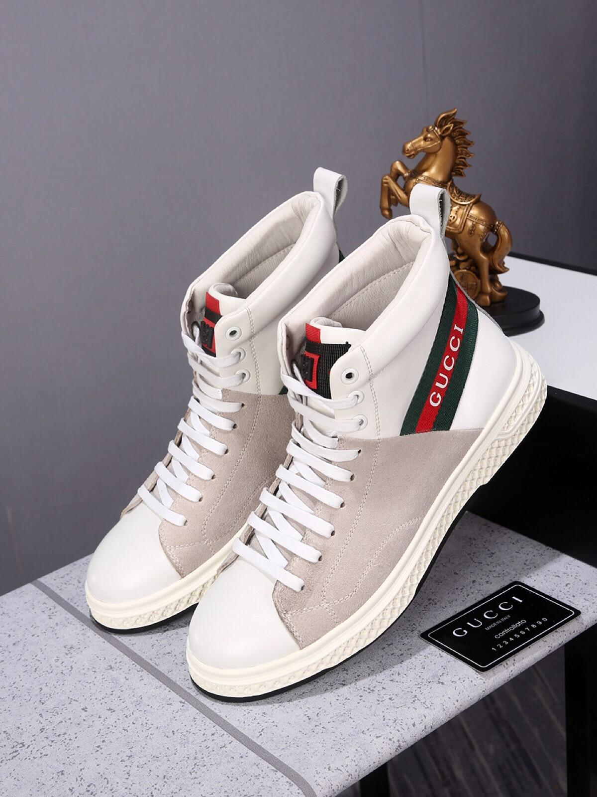 6f0e0cfac33 Red And Green Ribbon Brand Men s High-top Sneakers Luxury Leather ...