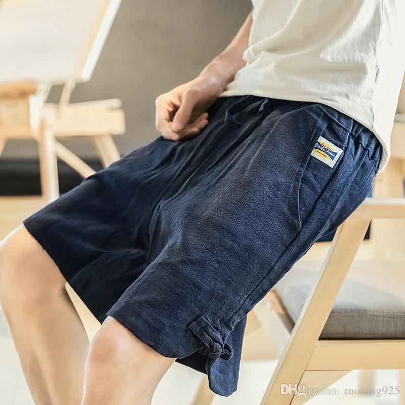 Sommer-Männer gerade Röhrenhose Flachs locker elastisch Trend nicht bügeln Behandlung von Freizeit-Shorts