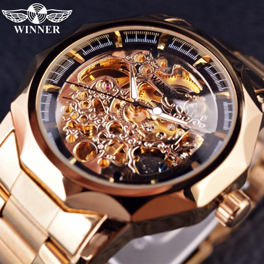 dbc91fd42f8 Compre Vencedor Real Escultura Série Dourado Luxo Esqueleto De Aço  Inoxidável Masculino Relógio De Pulso Dos Homens Relógios Top Marca De Luxo  Relógio ...
