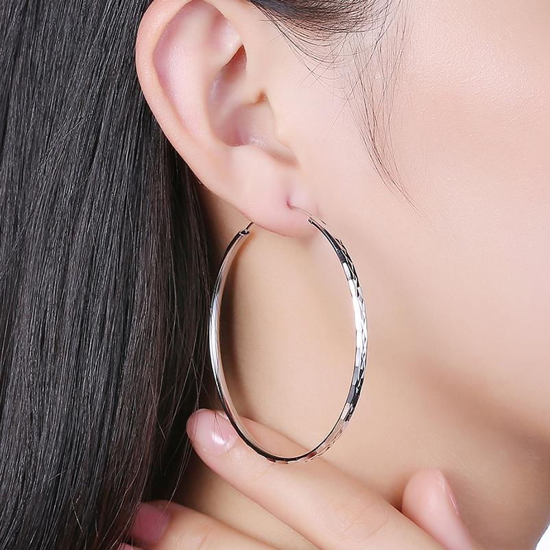 dbe7f7a79 2019 Authentic 100% 925 Sterling Silver Round Big Hoop Earrings Circle For  Women Anniversary Birthday Ear Fine Jewelry Gift HA30J From Shuidianba, ...