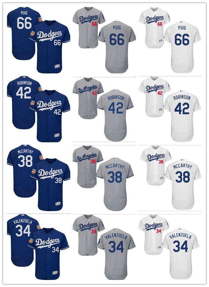 Custom Men Women Los Angeles Dodgers Jersey  66 Yasiel Puig 42 Jackie  Robinson 38 Brandon McCarthy 34 Fernando Valenzuela Baseball Jerseys Los  Angeles ... f3c6ebd0e