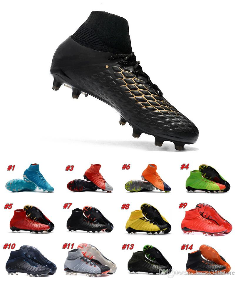 f5c4c3cb478 2019 Top Quality Hypervenom Phantom III DF FG Black Gold Men Football Boots  Outdoor Lawn Soccer Shoes With Box From Boost350store