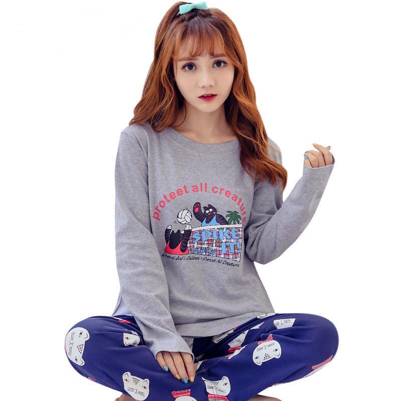 9d512fec393bc4 Plus Size Foply Verão Outono Algodão Mulheres Pijama Set Sleepwear Casa  Camisola Pijama O Pescoço Manga Comprida Pijama Femme Mujer