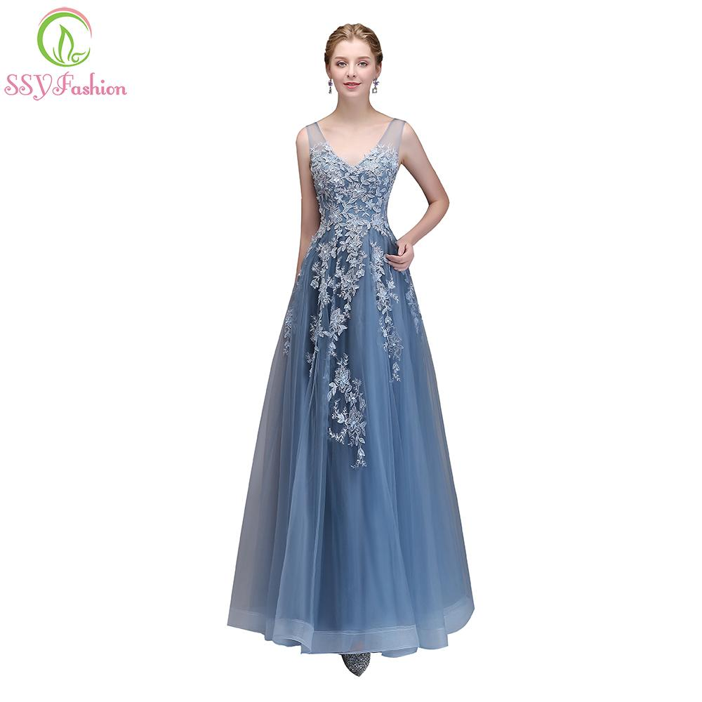 Ssyfashion New The Banquet Elegant Lace Evening Dress V Neck Grey ...