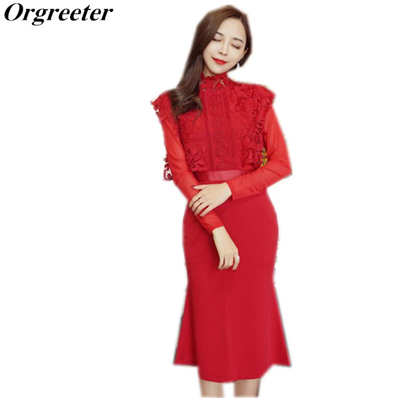 a71efe59284a 2019 High Quality Self Portrait Red Lace Dress 2018 Water Soluble Lace  Patchwork Gauze Fishtail Bodycon Dress Party Vestidos From Silan, $45.83    DHgate.Com