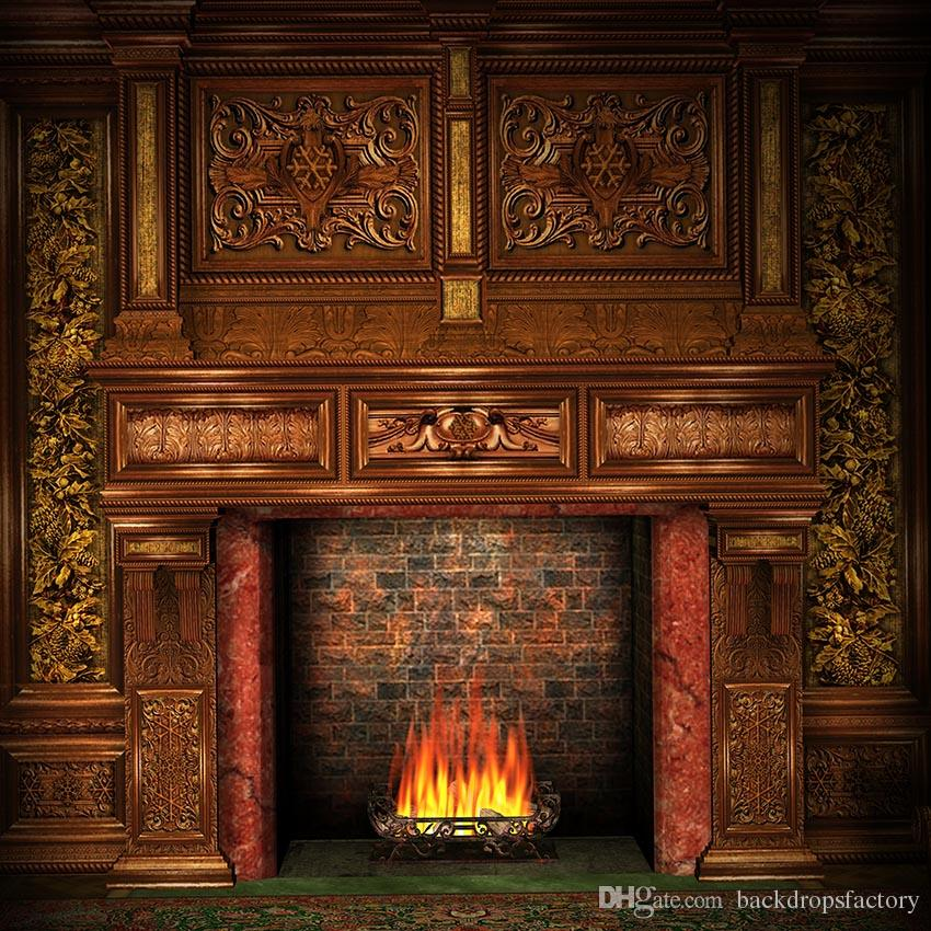 2019 Indoor Brick Fireplace Backdrop For Photography Retro Brown