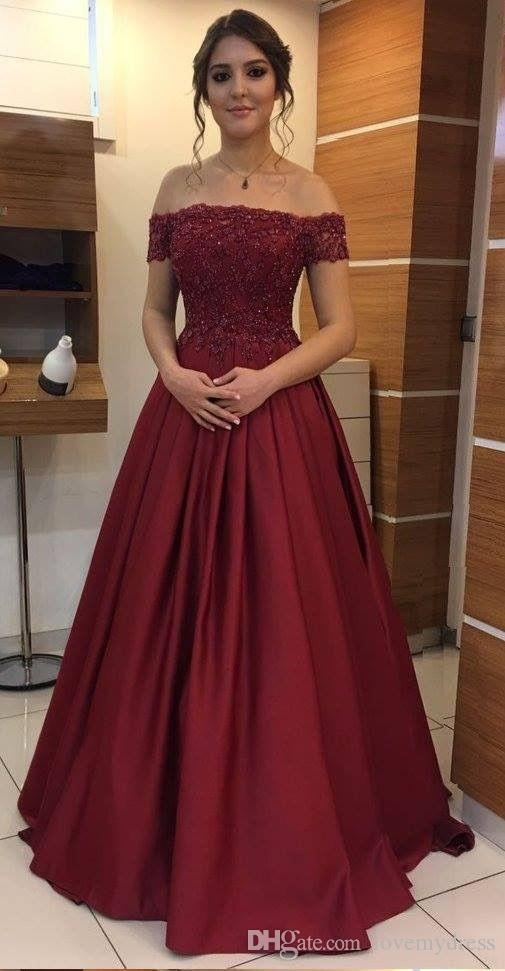 8e04825e07 Elegant Wine Red Off shoulder Evening Formal Dresses Long Cheap With Short  Sleeves Applique Lace Sequin Satin A line Prom Pageant Dress Gown