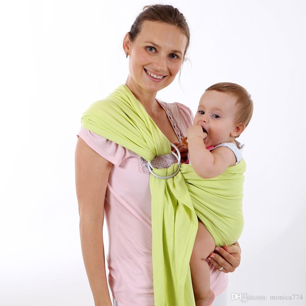 100% Bomull Fram Back Baby Carrier Spädbarn Ryggsäck Slinga Med Metall Ring Komfort Färgglada Barnbärare Nyfödd Horisontell Sling