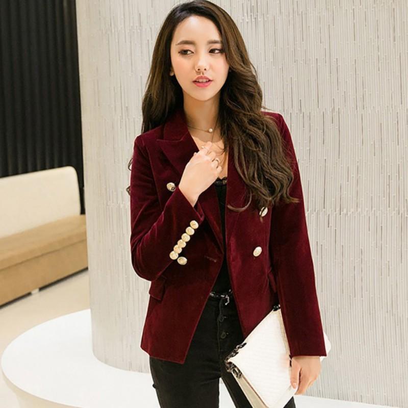9c3bfb63d78a 2019 Women Autumn Velvet Blazer Slim Long Sleeve Ladies Blazers Office Lady  OL Formal Work Small Suit Jacket Blazers S18101303 From Jinmei03, ...