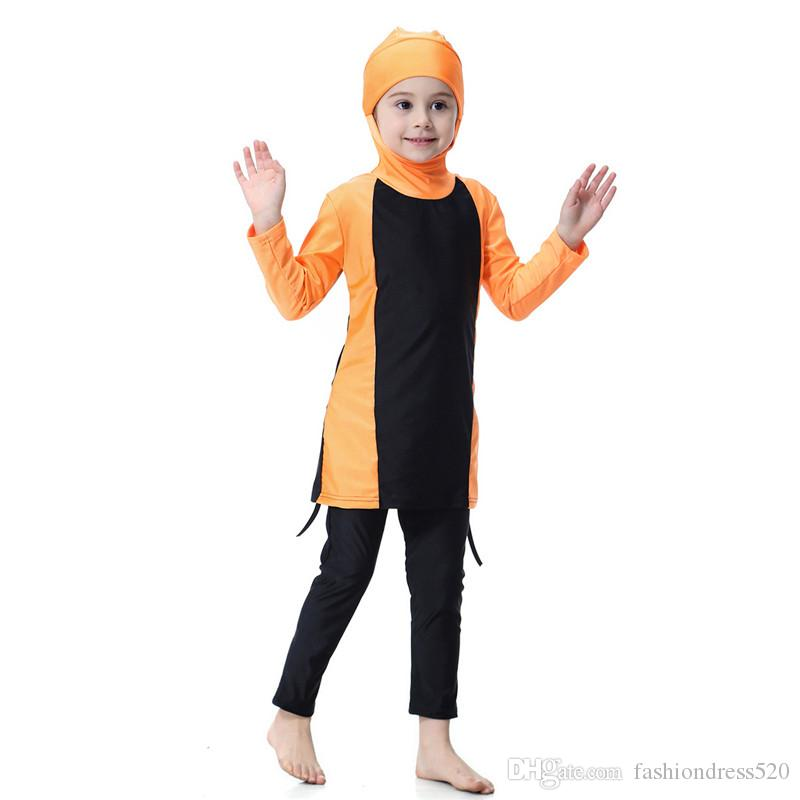 f5ef5b9429fe0 2019 2018 New Arrivals Muslim Girls Swimwear Summer Beach Bathing Suit Full  Cover Up Burkini Kids Tankini From Fashiondress520