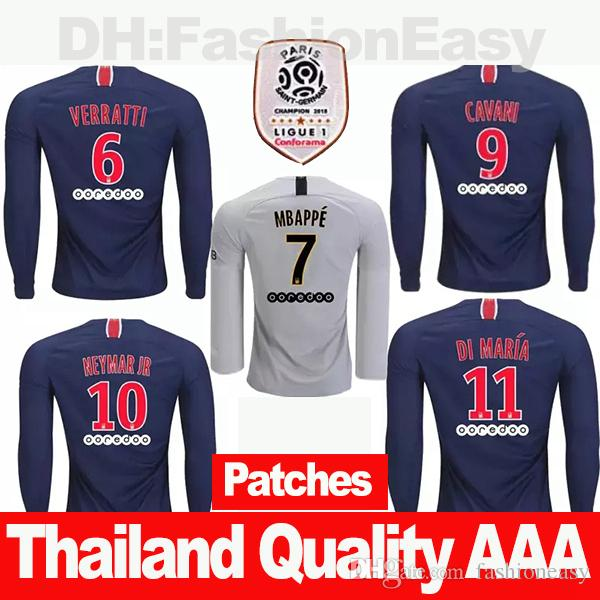 2019 2019 2018 Maillot De Foot Paris PSG Soccer Jersey Long Sleeve 18 19  Football Kit Shirt Survetement Camisa Men Adult With Patches Sweatshirt  From ... ddbebbf03