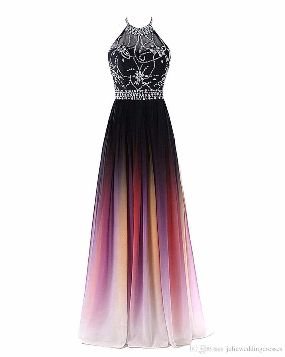 2018 Mais Novo Venda Quente Sexy Halter Gradiente Vestidos de Baile Com Longo Chiffon Plus Size Ombre Evening Partido Vestidos Formais vestido de Festa