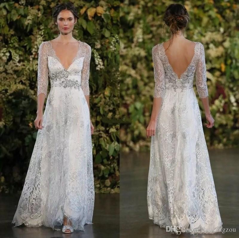 Discount Vintage Silver Lace Wedding Dresses A Line Plunging V Neck ...
