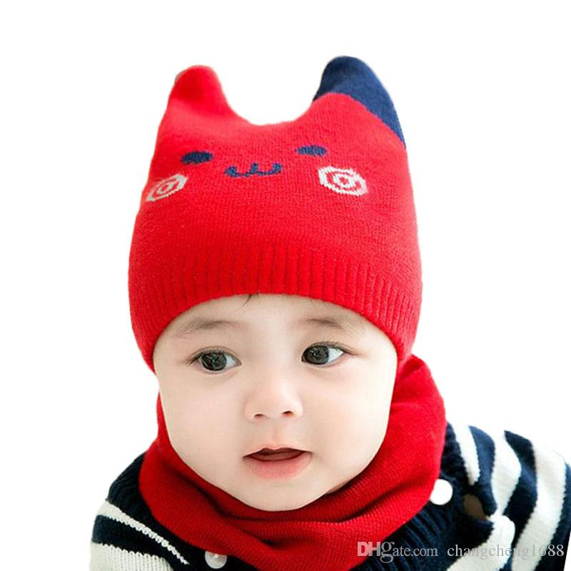 Baby Scarf Cap Sets Boy Girl Cartoon Cat Design Knit Beanies Hat And ... 11e692cb2f1